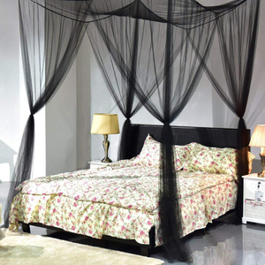 Mosquito Net, 4 Corner Post Bed Canopy, Quick And Easy Installation for King Size Beds Large Queen Size Bed Curtain (Black)