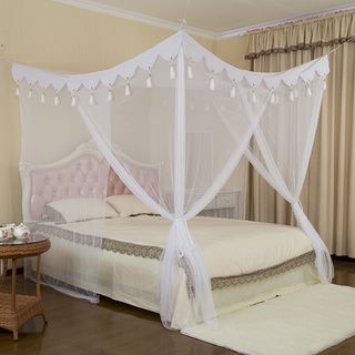 New Product White Hanging Rectangle Tassel Mosquito Net Bed Canopy