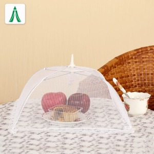 White Foldable Pop Up Fly Net Mesh Food Cover With Logo Printing