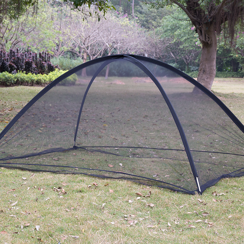 China Export Outdoor Quick Automatic Opening Camping Trip Single Fiber Pole Anti-mosquito Netting Tent