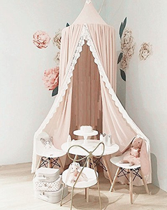 Kids Princess Play Tents Kids Cotton Bed Canopy Lace Decor Mosquito Net