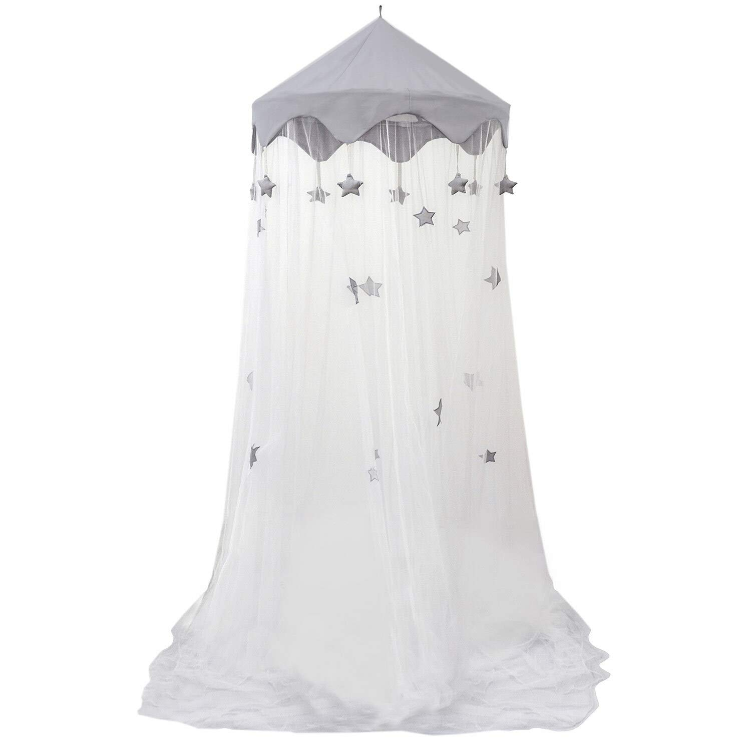 Hanging Pop Up Bed Canopy Mosquito Net with Stars for Kids Baby Adults