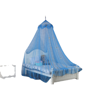 2020 Popular Style Gloden Stars Decoration Circular Blue Hanging Mosquito Net