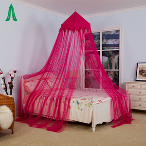 100% Polyester Material Colorful Crown Decorative Conical Pink Mosquito Net
