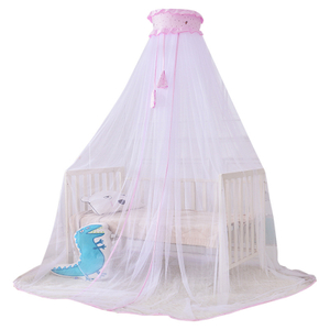 Vertical General Solid Color Simple Cartoon 100% Polyester Breathable Fabric Dome Crib Mosquito Net Newborn Baby Mosquito Net