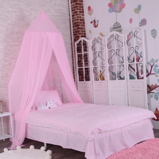 Soft Pink Hanging Bed Canopy Hideaway Tent for Kids Rooms Nursery Decoration Slightly Sheer Drapes
