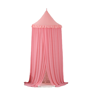 2020 Princess Style Pink Spire Shrink Lace Hanging Bed Canopy For Kids