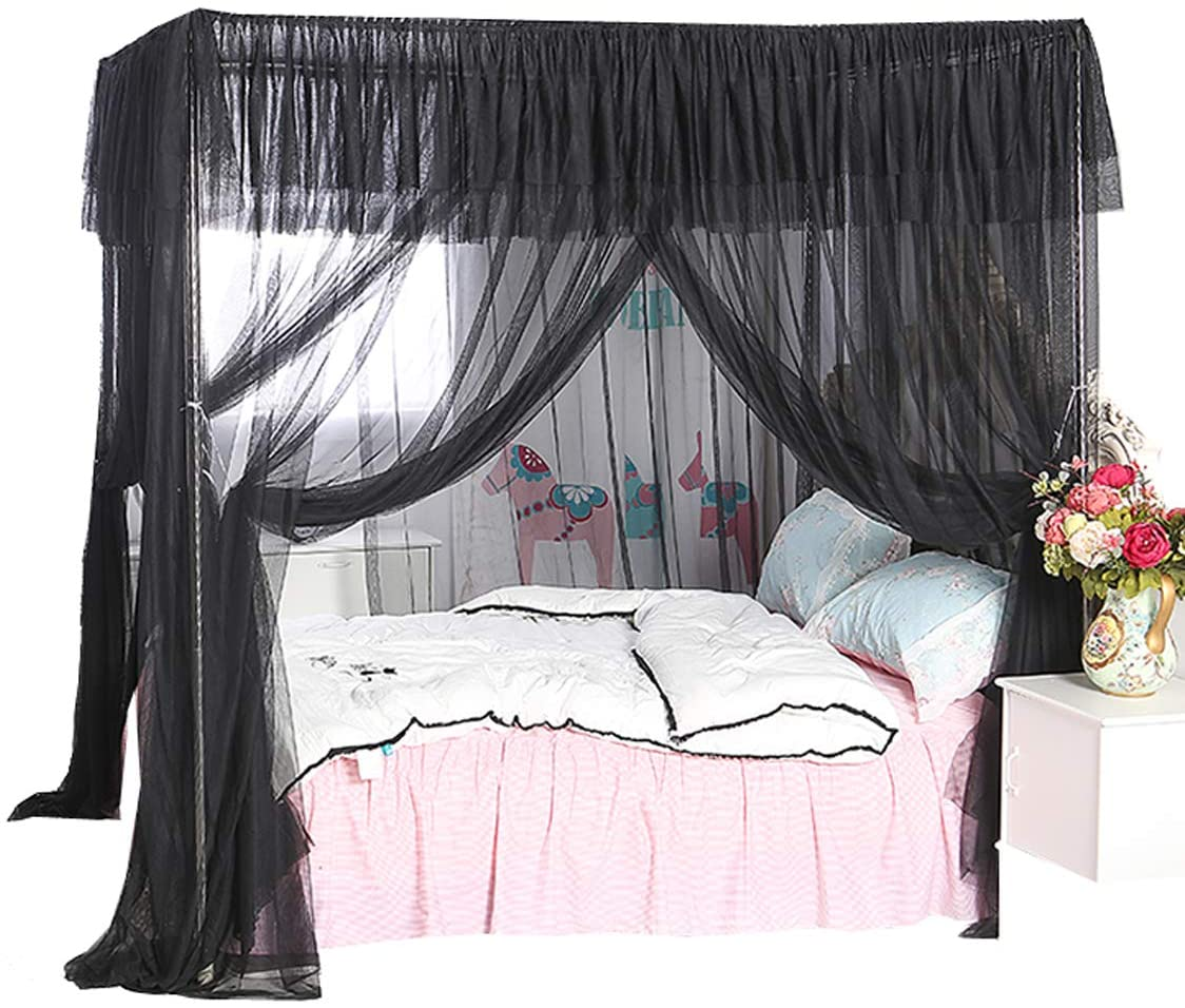 Wholesale Four Corner Mosquito Nets Black Bed Canopy for Outdoor Indoor