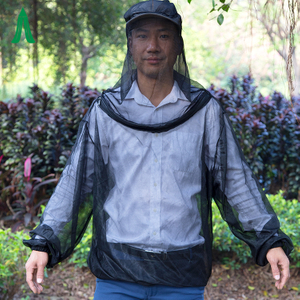 Portable Mosquito Net Jacket With Head Net / Insect Net Body Suits