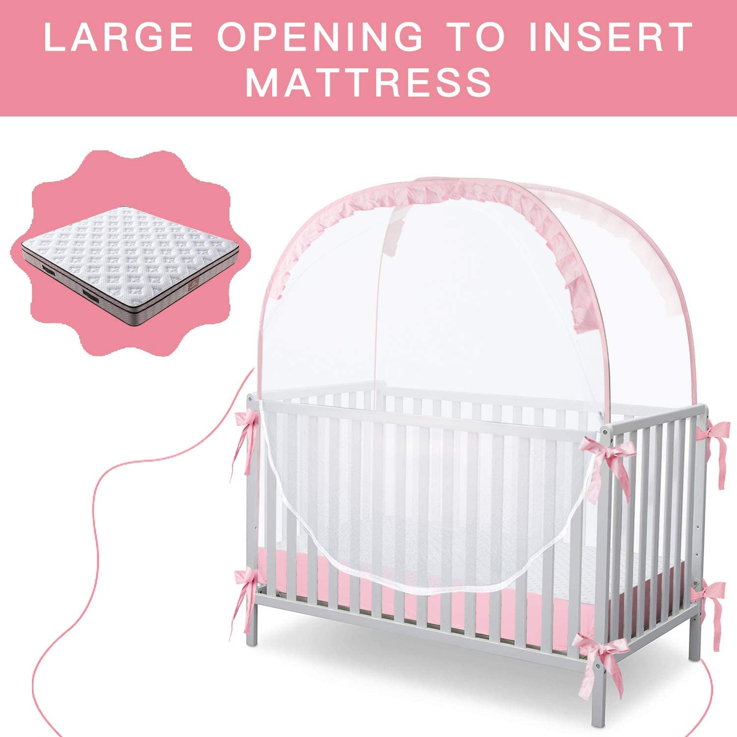 Hot Sale Baby Crib Safety Mesh Cover Toddler Pop Up Tents Mosquito Nets