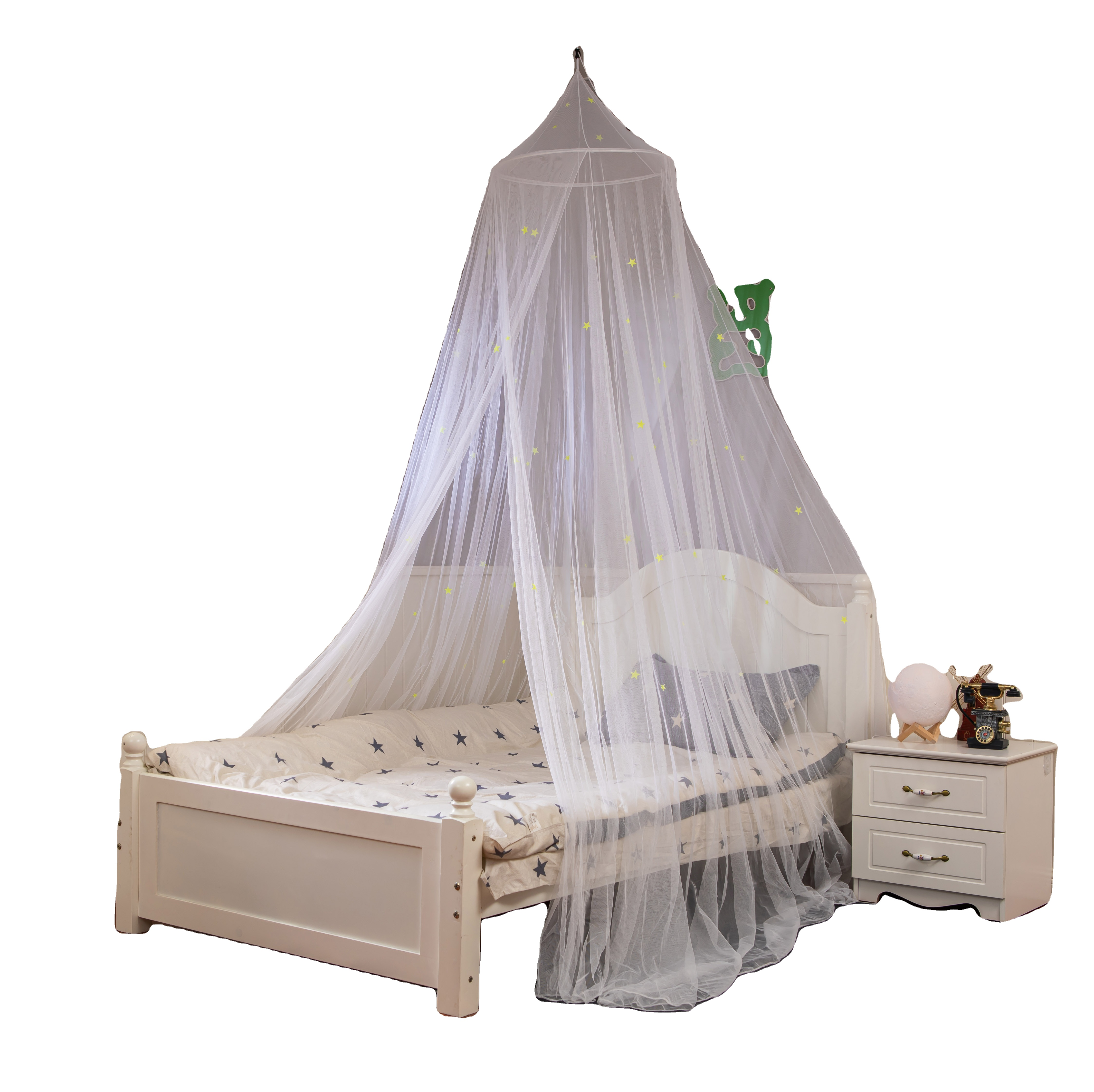 New design Bed Canopy mosquito net with Fluorescent Stars Glow in Dark for kids