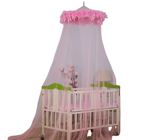 2020 Hot Sale Baby Girl Princess Style Pink Feather Circular Baby Mosquito Net