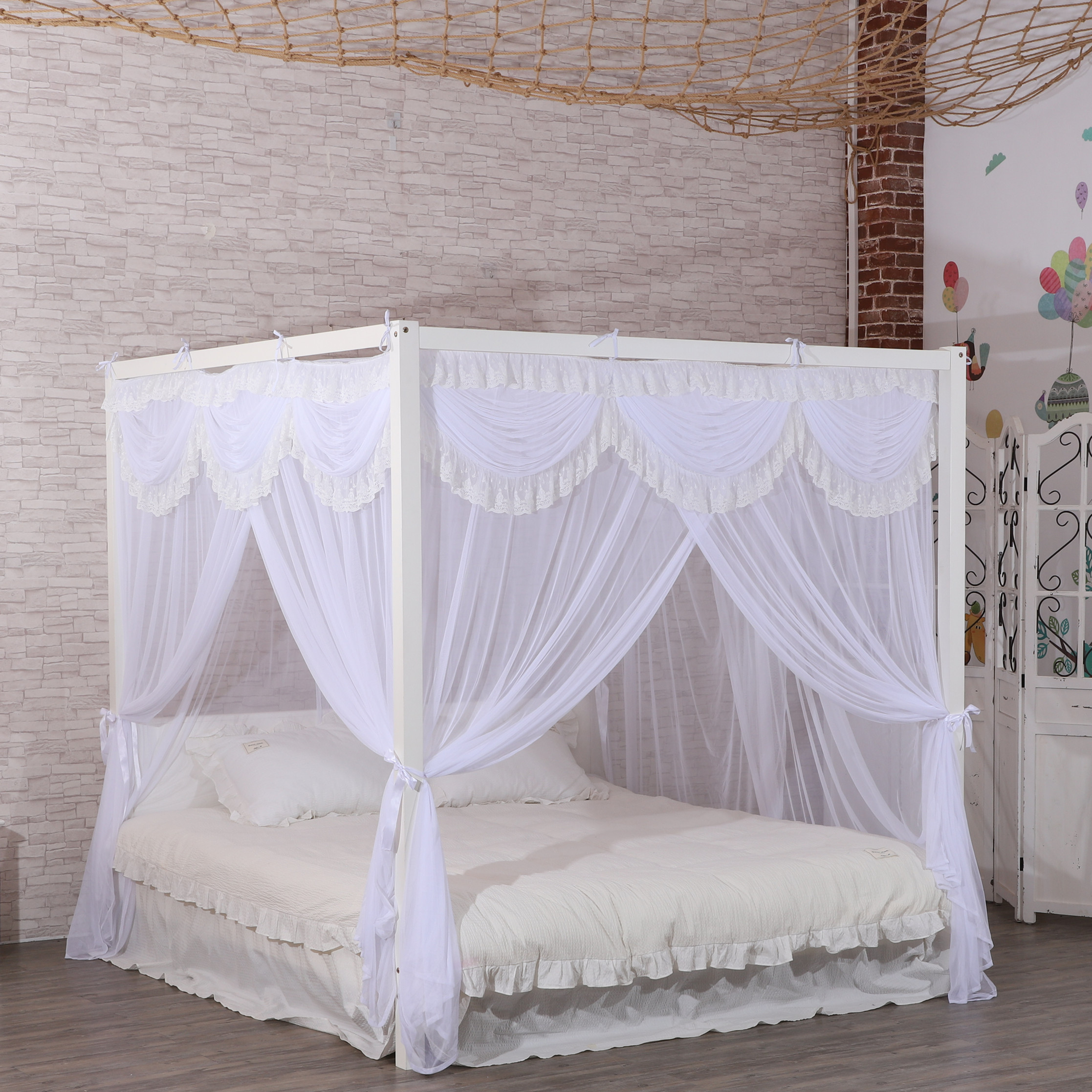 Soft Elegant Palace Rectangular Hanging Queen Size Mosquito Net For Adult Big Bedroom
